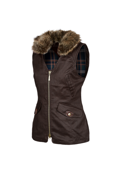 ANGELINA Elegant ladies gilet in dry-waxed fabric