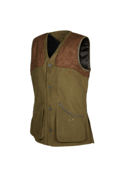 DOLMAN Traditional gilet with quilted shoulders in alcantara